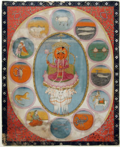 Surya surrounded by Zodiac