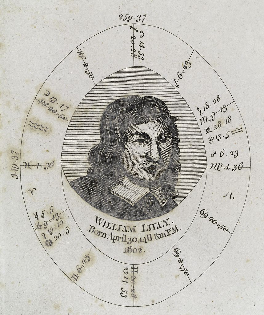 William Lilly and his birth chart.
